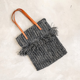 Foldover Bag - Raffia Black