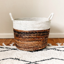Laundry Basket White + Natural